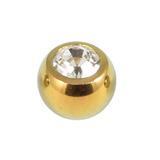 Titanium Threaded Jewelled Balls 1.6x6mm Gold metal, Crystal Clear Gem