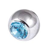 Titanium Threaded Jewelled Balls 1.6x5mm Mirror Polish metal, Light Blue Gem