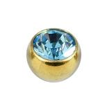Titanium Threaded Jewelled Balls 1.6x5mm Gold metal, Light Blue Gem