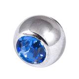 Titanium Threaded Jewelled Balls 1.6x5mm Mirror Polish metal, Sapphire Blue Gem