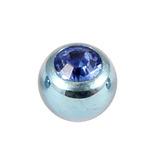Titanium Threaded Jewelled Balls 1.6x5mm Ice Blue metal, Sapphire Blue Gem