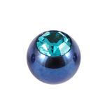 Titanium Threaded Jewelled Balls 1.6x5mm Blue metal, Turquoise Gem