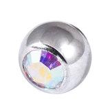 Titanium Threaded Jewelled Balls 1.6x5mm Mirror Polish metal, Crystal AB Gem