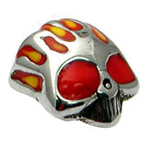 Steel Threaded Attachment - 1.6mm Cast Steel Flaming Skull - SKU 13635
