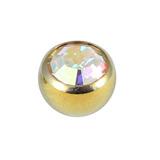 Titanium Threaded Jewelled Balls 1.6x5mm Gold metal, Crystal AB Gem