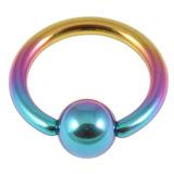Titanium BCR with Titanium Ball 1.6mm gauge 1.6mm, 16mm, (5mm) Rainbow