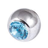 Titanium Threaded Jewelled Balls 1.6x6mm Mirror Polish metal, Light Blue Gem