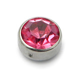 Steel Clip in Jewelled Disk (Flat Back) 3mm, Pink