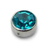 Steel Clip in Jewelled Disk (Flat Back) 3mm, Turquoise
