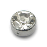 Steel Clip in Jewelled Disk (Flat Back) 4mm, Crystal Clear