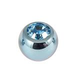 Titanium Threaded Jewelled Balls 1.6x6mm Ice Blue metal, Light Blue Gem