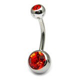 Titanium Double Jewelled Belly Bars 10mm Mirror Polish Mirror Polish, Orange