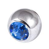 Titanium Threaded Jewelled Balls 1.6x6mm Mirror Polish metal, Sapphire Blue Gem