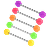 Acrylic Neon Barbell 1.6x12mm / 5 / Pack of all 5 shown
