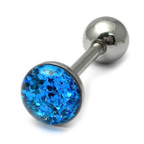 Steel Sparkle Tongue Barbell Blue 1.6x14mm