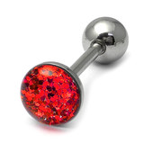 Steel Sparkle Tongue Barbell Red 1.6x14mm