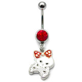 Belly Bar - Skull and Bow 1.6x10mm