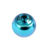 Titanium Threaded Jewelled Balls 1.6x6mm Turquoise metal, Turquoise Gem