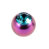 Titanium Threaded Jewelled Balls 1.6x6mm Purple metal, Turquoise Gem