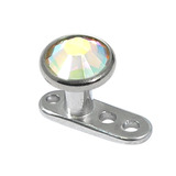 Titanium Dermal Anchor with Jewelled Disk Top (4mm diameter - standard) 2.5mm, Crystal AB (Standard height)