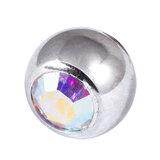 Titanium Threaded Jewelled Balls 1.6x6mm Mirror Polish metal, Crystal AB Gem