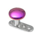 Titanium Dermal Anchor with Titanium Smooth Disk Top 2.5mm, Purple