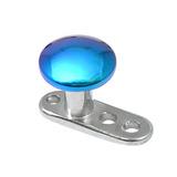 Titanium Dermal Anchor with Titanium Smooth Disk Top 2.5mm, Turquoise