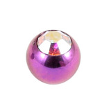 Titanium Threaded Jewelled Balls 1.6x6mm Purple metal, Crystal AB Gem