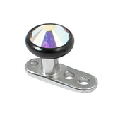 Titanium Dermal Anchor with Black Titanium Jewelled Disk Top 1.6mm, 2.5mm, 4mm Crystal AB