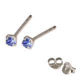 Silver Crystal Studs ST11 - ST12 - ST13 - Claw Set Sapphire Blue / ST11. Claw set. 1.5mm jewel