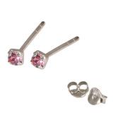 Silver Crystal Studs ST11 - ST12 - ST13 - Claw Set Pink / ST11. Claw set. 1.5mm jewel