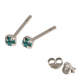 Silver Crystal Studs ST11 - ST12 - ST13 - Claw Set Turquoise / ST11. Claw set. 1.5mm jewel