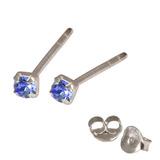 Silver Crystal Studs ST11 - ST12 - ST13 - Claw Set Sapphire Blue / ST12. Claw set. 2.0mm jewel