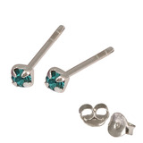 Silver Crystal Studs ST11 - ST12 - ST13 - Claw Set Turquoise / ST12. Claw set. 2.0mm jewel