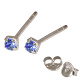 Silver Crystal Studs ST11 - ST12 - ST13 - Claw Set Sapphire Blue / ST13. Claw set. 2.5mm jewel