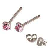 Silver Crystal Studs ST11 - ST12 - ST13 - Claw Set Pink / ST13. Claw set. 2.5mm jewel