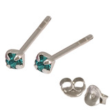 Silver Crystal Studs ST11 - ST12 - ST13 - Claw Set Turquoise / ST13. Claw set. 2.5mm jewel