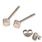 Silver Crystal Studs ST11 - ST12 - ST13 - Claw Set Crystal AB / ST13. Claw set. 2.5mm jewel