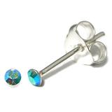 Silver Crystal Studs ST1 - ST2 - ST3 ST2, 2mm, 1 Pair Aqua AB