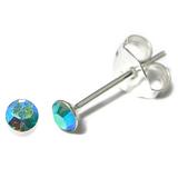 Silver Crystal Studs ST1 - ST2 - ST3 ST3, 2.5mm, 1 Pair Aqua AB