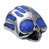 Steel Threaded Attachment - 1.6mm Cast Steel Flaming Skull blue