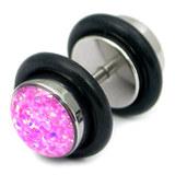 Steel Sparkle Fake Plug 1.2mm, 5mm, 8mm, Pink