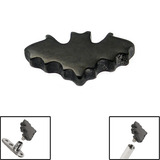 Black Steel Bat Top for Internal Thread shafts in 1.6mm (1.2mm). Also fits Dermal Anchor Black Bat