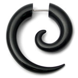 Acrylic Fake Spiral Stretchers (Push Fit) Black / Large: Acrylic fake spiral expander. Apparent max gauge is 8mm.
