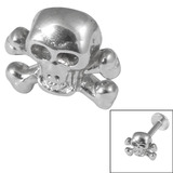 Steel Threaded Attachment - 1.2mm and 1.6mm Cast Steel Skull and Crossbones - SKU 14562
