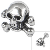 Steel Threaded Attachment - 1.2mm and 1.6mm Cast Steel Skull and Crossbones - SKU 14571