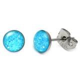 Steel Sparkle Earrings Aqua