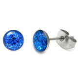 Steel Sparkle Earrings Blue