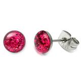Steel Sparkle Earrings Fuchsia