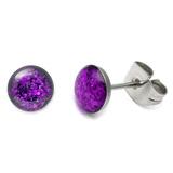 Steel Sparkle Earrings Purple